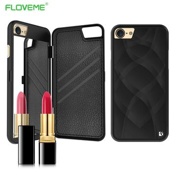 FLOVEME Makeup Mirror Case For iPhone 6 6S 7 Plus Case Dual Layer Card Slot Hard Plastic Back Cover Cases For iPhone 6 7 Coque