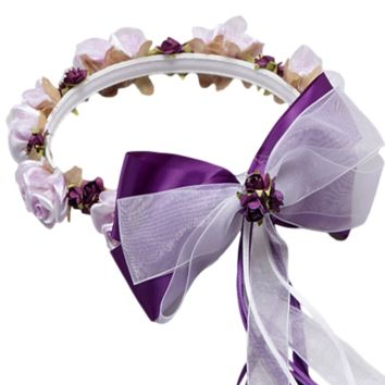 Purple Floral Crown Wreath Handmade with Silk Flowers, Satin Ribbons & Bows (Girls)
