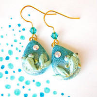 Sparkle earringKoi fish earrings Teal mint clay by FlowerLandShop