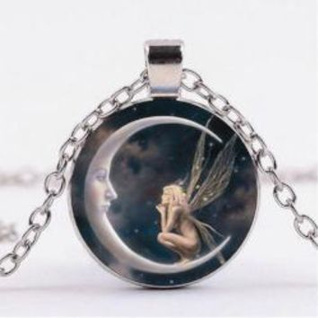 Retro Fairy and Moon Necklace