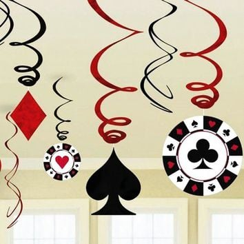 9pcs/set Foil Casino Hanging Dangling Swirl Decorations Playing Card Swirls Poker Card Decor Alice in Wonderland Tea Party Decor
