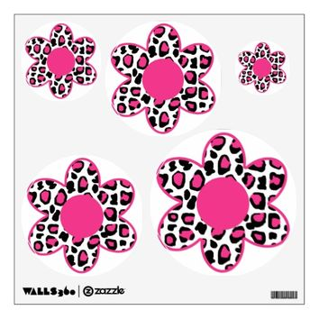 Hot Pink Leopard Animal Print Flower Teen Girl Wall Decal