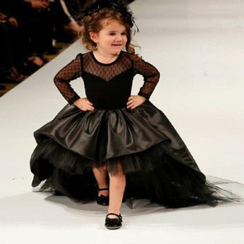 Black High Low Pageant Dresses for Little Girls Ball Gown Flower Girl Dresses Long Sleeves Kids Evening Gowns Communion Dresses