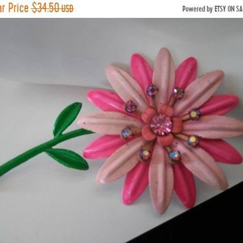 ON SALE Hot Pink Rhinestone Flower Large Brooch Mid Century Collectible Figural Pin Spring Summer Jewelry Bridal Bouquet Accessory