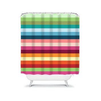 Bold Colorful Rainbow Stripes Geometric Pattern Bathroom Bath Shower Curtain Polyester Made in the USA