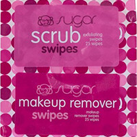 SUGAR SWIPES exfoliating scrub and makeup removing wipes