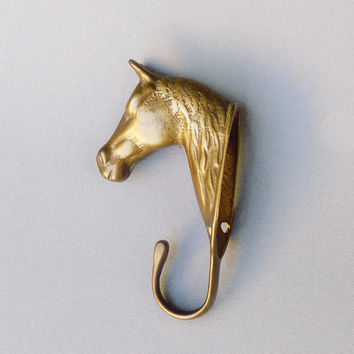 Vintage brass horse head / Wall hook / coat rack / Equestrian figurine / bronze brass