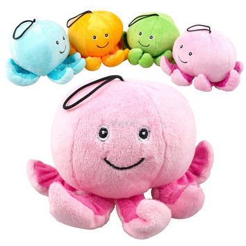 Cute Octopus Plush Dog Sound Squeaker Chew Toys Fit For Puppy 4 Colors