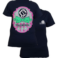 Southern Couture Preppy Logo Pattern Bow Girlie Bright T Shirt