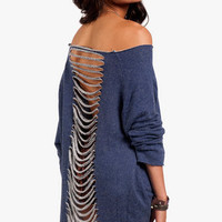 Slouchy Shredded Sweater $54 (on sale from $78)