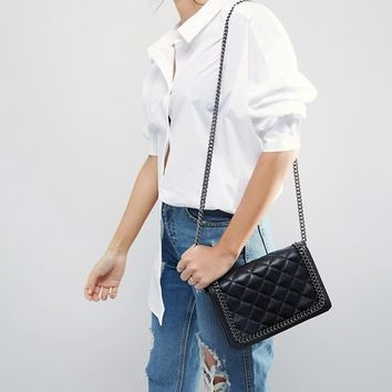 ASOS Leather Quilted Chain Shoulder Bag at asos.com