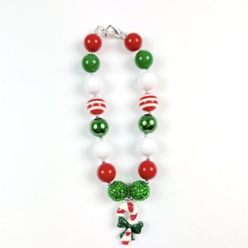 RTS Red and Green Candy Cane Chunky Necklace