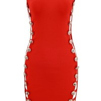 'Daphne' Open Side Midi Dress - Red