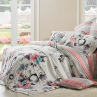 Red Grey and White Rustic Garden Images Floral and Stripes 100% Soft Modal Tencel Full, Queen Size Bedding Sets - EnjoyBedding.com