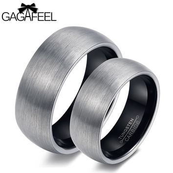 GAGAFEEL Love Rings Finger Ring Women Men Tungsten Steel Arc Smooth Couples Lucky Vintage Jewelry For Wedding Lover