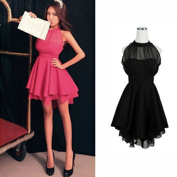 HOT Women Sleeveless Sexy Backless Chiffon Party Ball Prom Evening Short Dress  S M L = 1697390148
