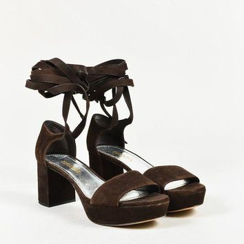 Prada Brown Suede Ankle Wrap Platform Open Toe Sandals