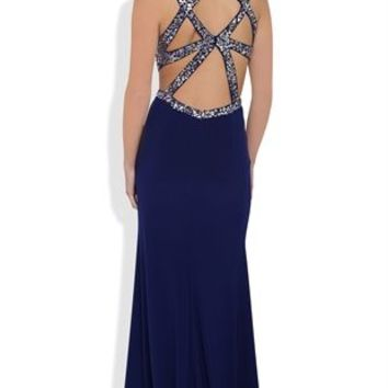 Long Prom Dress with Decorative Sequin Open Back and Side Slit