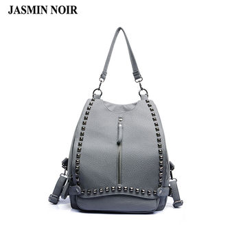 2017 new Korean PU leather Women Backpack shoulder bag solid rivets flip fashionista messenger back Bag School Bag