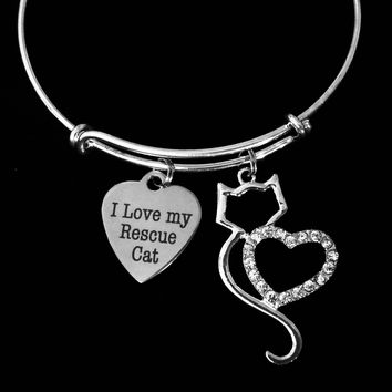 I Love My Rescue Cat Jewelry Adjustable Bracelet Expandable Charm Bangle Animal Lover Gift Kitten Crystal Rhinestone One Size Fits All