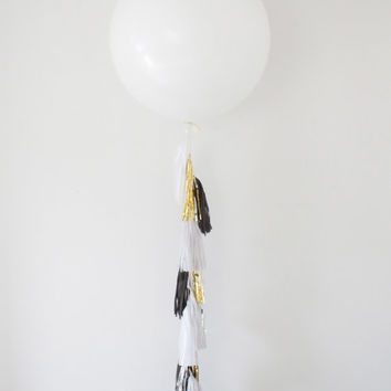 36 inch Giant Balloon Tassel Garland - Party Decoration, Balloon Garland, Silver and Gold Tassel Garland, Photo Shoot, and Wedding Decor