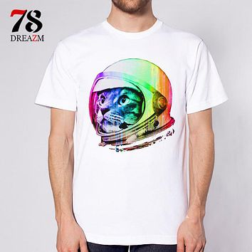 Astronaut Space Cat T-Shirt  Men funny t shirt Tops Tees Custom male white Printed cat designer clothing