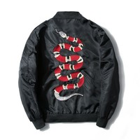 Men Embroidered Snake Hoodies For Unisex Sweatshirts  Casual Pullover Hoody Thin Style O-Neck Long Sleeve Tops