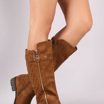 Quilted Suede Buckle And Zipper Trim Knee High Riding Boots