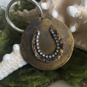 Custom Brass Key Chain - Horseshoe   - Rustic Custom Embellished