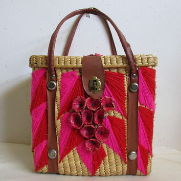 Vintage 1960s Wicker Purse Natural Rattan Pink Straw Flowers 60s Embroidered Design Leather Handle Beach Resort Handbag Picnic Basket