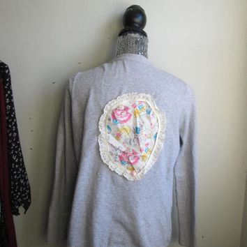 Vintage Easter Bunny & Egg Applique Cardigan