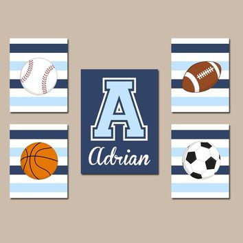SPORTS Wall Art,Boy Sports Nursery Art,CANVAS or Prints,Big Boy Room,Football Baseball Basketball Soccer,Personalized Boy Decor,Set of 5