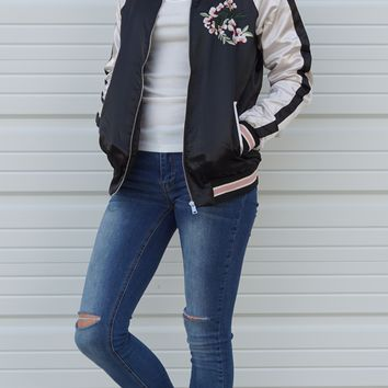 Satin Floral Embroidered Bomber Jacket