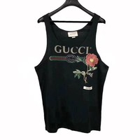GUCCI Flower Fashion New Letter Print Embroidery Floral Tank Vest Top Shirt Tee Black
