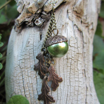 acorn oak leaf leaves autumn fall necklace pearl acorn pendant vintaj jewelry necklace Thanksgiving woodland nature inspired jewelry