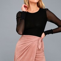 Future Love Blush Pink Suede Wrap Mini Skirt