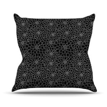 "Kess InHouse Julia Grifol ""Black Flowers"" Dark Floral Throw Pillow, 26 by 26"""
