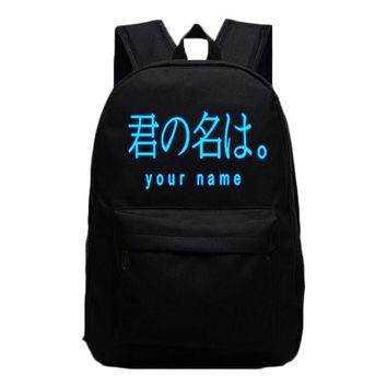 2017 Anime School Bag Your Name Luminous Backpack For Womens Mens Laptop Backpack Travel Bag Student Bookbag Kids School Gifts
