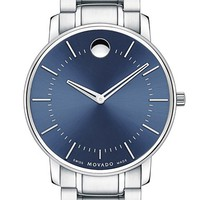 Men's Movado Round Bracelet Watch, 40mm - Silver/ Blue