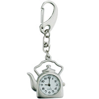 Hampton Direct Tea Pot Shaped Analog Watch Key Chain With Swiveling Clip