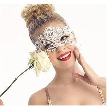 DKF4S 6 Style Choose Sexy Black Lace Mask Halloween Eye Face Masks For Masquerade Party Mask Anonymous Nightclub Queen Female Masque
