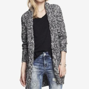 WOOL BLEND MARLED TEXTURED SWEATER COAT
