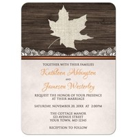 Wedding Invitations - Rustic Autumn Wood Leaf Orange