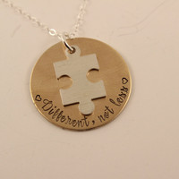 """Different, not less"" - Brass & sterling silver necklace with puzzle piece charm"