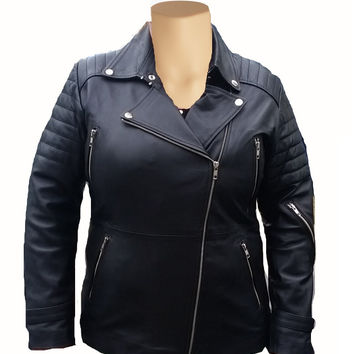 Women's biker jacket with quilted patterns