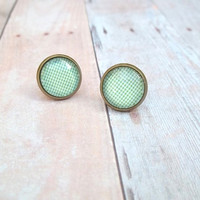 M I N T Y - Mint Green and White Cross Hatch Plaid Photo Glass Cab Circle Bronze Plated Post Stud Earrings