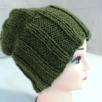 Handcrafted Slouchy Hat Beanie Green Ribbed Soft 100% Baby Alpaca Female Adult -- New No Tags