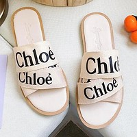 Chloe Summer Hot Sale Women Casual Print Slipper Sandals Shoes Beige