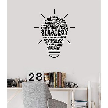 Vinyl Wall Decal Strategy Words Cloud Lightbulb Office Decor Idea Art Stickers Mural (ig5701)