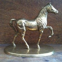 Vintage English Brass Horse On Stan.. on Luulla